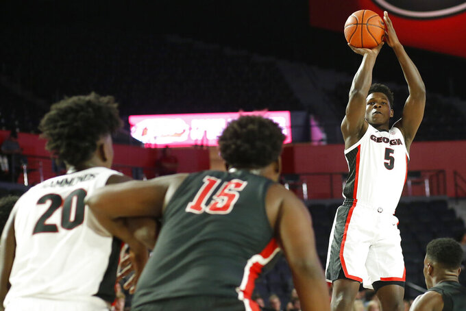 Georgia' Anthony Edwards (5) shoots during an NCAA college exhibition basketball game against Valdosta State in Athens, Ga., Friday, Oct. 18, 2019. (Joshua L. Jones/Athens Banner-Herald via AP)