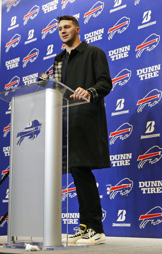 Buffalo Bills quarterback Josh Allen answers questions after an NFL football game against the Washington Redskins, Sunday, Nov. 3, 2019, in Orchard Park, N.Y. (AP Photo/John Munson)