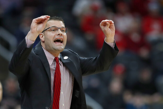Bradley head coach Brian Wardle is seen on the sidelines during the first half of an NCAA college basketball game against Drake in the semifinal round of the Missouri Valley Conference men's tournament Saturday, March 7, 2020, in St. Louis. (AP Photo/Jeff Roberson)