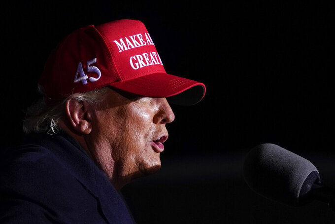 FILE - In this Nov. 2, 2020, file photo President Donald Trump speaks during a campaign rally at Kenosha Regional Airport, Monday, Nov. 2, 2020, in Kenosha, Wis. (AP Photo/Evan Vucci, File)