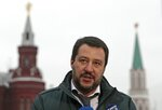 FILE - In this Friday, Nov. 18, 2016 file photo, the League leader Matteo Salvini speaks to the media near Red Square outside the Kremlin in Moscow, Russia. Opposition lawmakers want to question Italian Interior Minister Matteo Salvini about allegations a Russian oil deal was devised to fund his pro-Moscow League party. Democratic Party lawmakers demanded Thursday, July 11, 2019 that a parliamentary inquiry be held. They want to question Salvini, the BuzzFeed journalist who made the allegations, Italy's ambassador to Moscow, Russia's ambassador to Rome and a former Salvini associate who allegedly brokered the proposed deal. (AP Photo/Ivan Sekretarev, File)