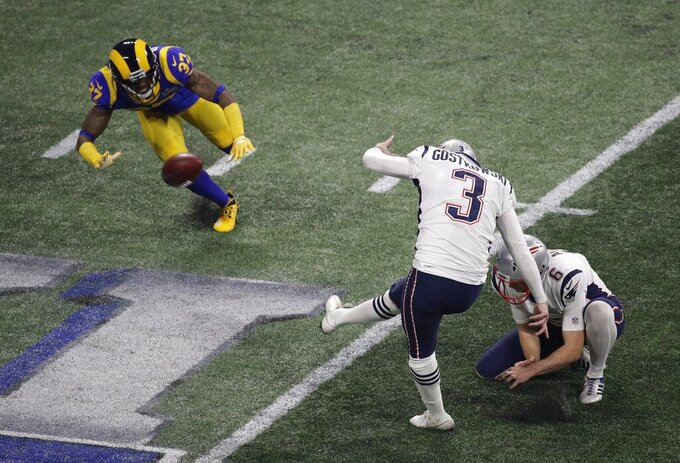 New England Patriots' Stephen Gostkowski (3) kicks a 41-yard field goal against the Los Angeles Rams during the second half of the NFL Super Bowl 53 football game Sunday, Feb. 3, 2019, in Atlanta. The New England Patriots won 13-3. (AP Photo/Charlie Riedel)