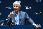 Yale University Professor William Nordhaus, one of the 2018 winners of the Nobel Prize in economics, speaks about the honor Monday, Oct. 8, 2018, in New Haven, Conn. Nordhaus was named for integrating climate change into long term macroeconomic analysis. (AP Photo/Craig Ruttle)