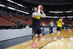 Michigan's Ignas Brazdeikis shoots during practice at the NCAA men's college basketball tournament in Anaheim, Calif., Wednesday, March 27, 2019. Michigan plays Texas Tech in a West Regional semifinal on Thursday. (AP Photo/Jae C. Hong)