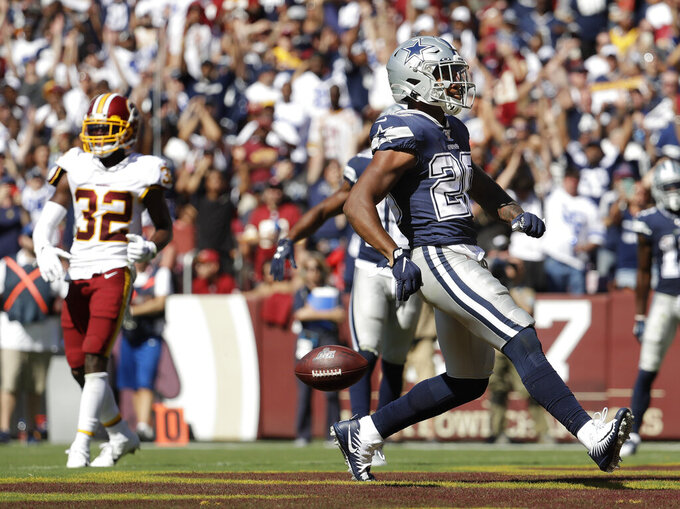 Washington Redskins strong safety Landon Collins (20) scores a touchdown against Washington Redskins in the second half of an NFL football game, Sunday, Sept. 15, 2019, in Landover, Md. Dallas won the game 31-21. (AP Photo/Evan Vucci)