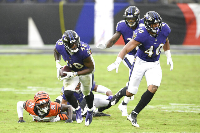Baltimore Ravens inside linebacker Patrick Queen (48) collects a fumble by Cincinnati Bengals wide receiver Mike Thomas (80) while returning it for a 53-yard touchdown during the second half of an NFL football game, Sunday, Oct. 11, 2020, in Baltimore. The Ravens won 27-3. (AP Photo/Nick Wass)