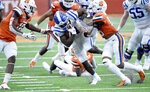 Duke running back Deon Jackson (4) runs against Syracuse during an NCAA college football game,  Saturday, Oct 10, 2020, at the Carrier Dome in Syracuse, N.Y. (Dennis Nett/The Post-Standard via AP)