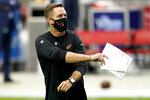 Arizona Cardinals head coach Kliff Kingsbury watches his team prior to an NFL football game against the Detroit Lions, Sunday, Sept. 27, 2020, in Glendale, Ariz. (AP Photo/Ross D. Franklin)
