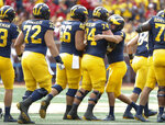 Michigan place kicker Quinn Nordin (3) celebrates his 50-yard field goal with Ben Bredeson (74) in the first half of an NCAA football game against Nebraska in Ann Arbor, Mich., Saturday, Sept. 22, 2018. (AP Photo/Paul Sancya)