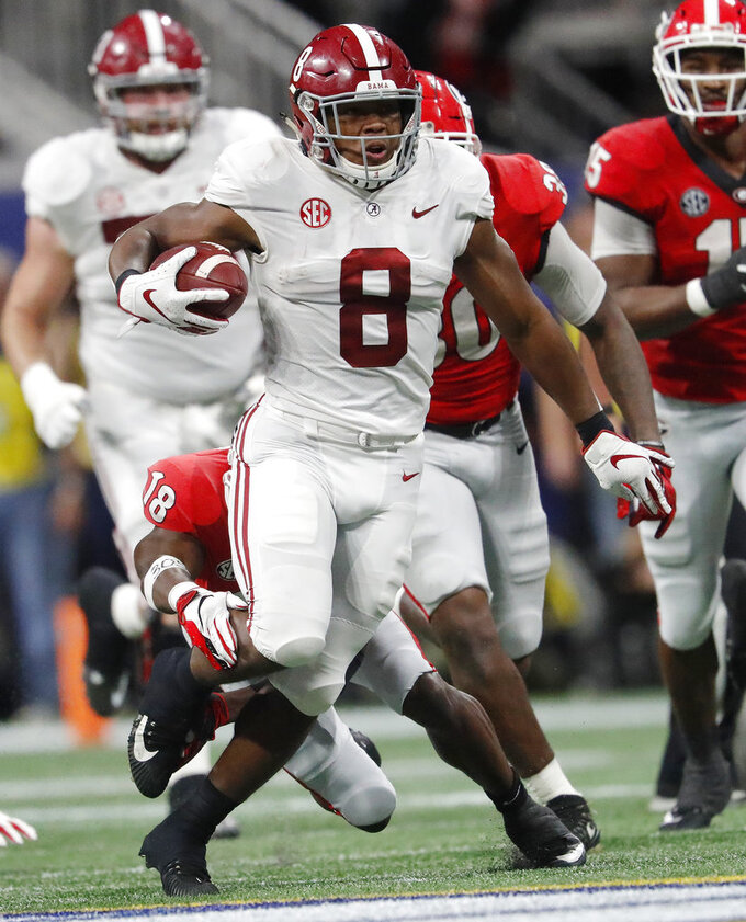 Alabama running back Josh Jacobs (8) runs against Georgia during the first half of the Southeastern Conference championship NCAA college football game, Saturday, Dec. 1, 2018, in Atlanta. (AP Photo/John Bazemore)