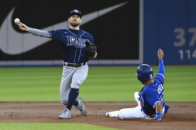 Tampa Bay Rays' Brandon Lowe throws to first after forcing out Toronto Blue Jays' Marcus Semien at second base, on a double play hit into bu Vladimir Guerrero Jr. during the first inning of a baseball game Tuesday, Sept. 14, 2021, in Toronto. (Jon Blacker/The Canadian Press via AP)