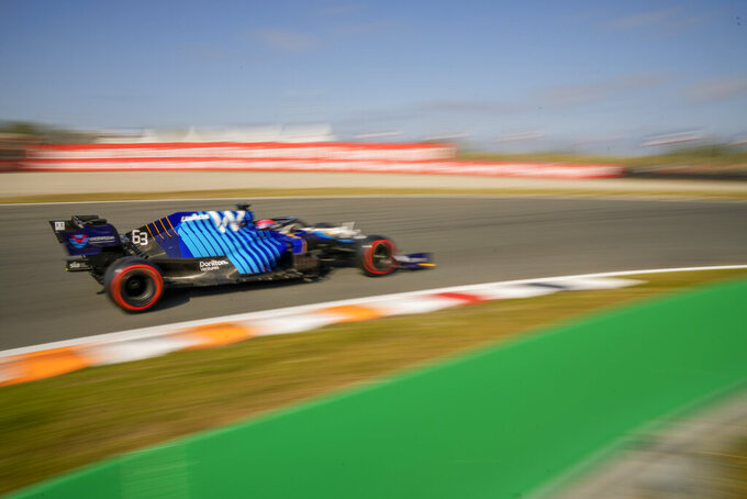 Williams driver George Russell of Britain steers his car during the third free practice session ahead of Sunday's Formula One Dutch Grand Prix at the Zandvoort racetrack, Netherlands, Saturday, Sept. 4, 2021. (AP Photo/Francisco Seco)