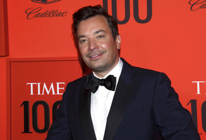FILE - In this April 23, 2019 file photo, Jimmy Fallon attends the Time 100 Gala in New York.  Fallon and the