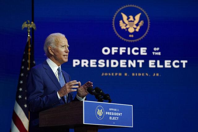 President-elect Joe Biden speaks at The Queen theater, Monday, Nov. 9, 2020, in Wilmington, Del. (AP Photo/Carolyn Kaster)
