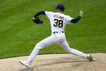 Milwaukee Brewers relief pitcher Devin Williams throws during the seventh inning of a baseball game against the Kansas City Royals Saturday, Sept. 19, 2020, in Milwaukee. (AP Photo/Morry Gash)