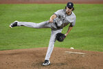 New York Yankees starting pitcher Gerrit Cole follows through during the third inning of the team's baseball game against the Baltimore Orioles, Saturday, Sept. 5, 2020, in Baltimore. (AP Photo/Nick Wass)