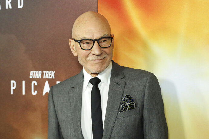 FILE - In this Jan. 13, 2020 file photo, Patrick Stewart attends the LA Premiere of
