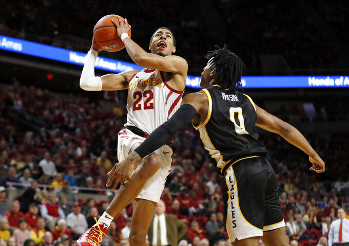 Iowa State guard Tyrese Haliburton (22) drives to the basket over Southern Mississippi guard Gabe Watson, right, during the first half of an NCAA college basketball game, Tuesday, Nov. 19, 2019, in Ames, Iowa. (AP Photo/Charlie Neibergall)