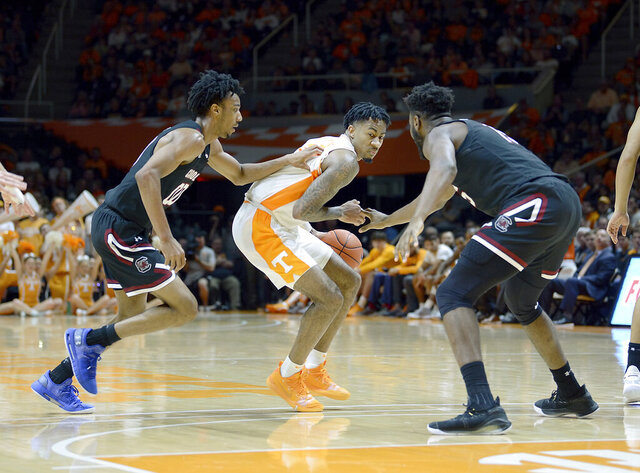 Tennessee's Jordan Bowden (23) sizes up the South Carolina defense during an NCAA college basketball game, Saturday, Jan. 11, 2020 at Thompson-Boling Arena in Knoxville Tenn. (Scott Keller/Knoxville News Sentinel via AP)