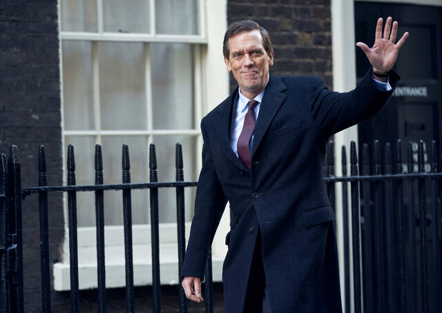 This image released by PBS shows Hugh Laurie as a heedless British politician beset by scandal in the four-episode series