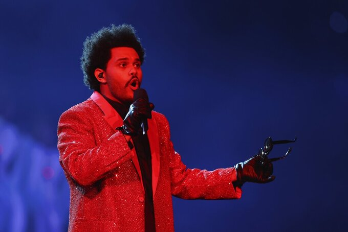 performs during halftime of the NFL Super Bowl 55 football game between the Kansas City Chiefs and Tampa Bay Buccaneers, Sunday, Feb. 7, 2021, in Tampa, Fla. (AP Photo/Mark LoMoglio)