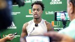 University of Miami starting quarterback Jarren Williams (15) speaks to the media after morning practice before Saturday night's ACC opener at North Carolina, at the Carol Soffer Indoor Practice Facility in Coral Gables, Florida on Wednesday, September 4, 2019.(Daniel A. Varela/Miami Herald via AP)