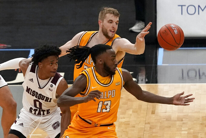 Missouri State's Demarcus Sharp (0) watches as Valparaiso's Sheldon Edwards (13) and Ben Krikke reach for a loose ball during the first half of an NCAA college basketball game in the quarterfinal round of the Missouri Valley Conference men's tournament Friday, March 5, 2021, in St. Louis. (AP Photo/Jeff Roberson)