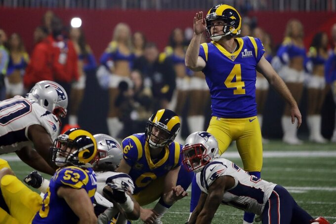 Los Angeles Rams' Greg Zuerlein (4) watches as he scores a field goal against the New England Patriots during the second half of the NFL Super Bowl 53 football game Sunday, Feb. 3, 2019, in Atlanta. (AP Photo/Matt Rourke)