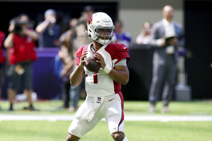 FILE - In a Saturday, Aug. 24, 2019 file photo, Arizona Cardinals quarterback Kyler Murray throws a pass during the first half of an NFL preseason football game against the Minnesota Vikings, in Minneapolis. (AP Photo/Jim Mone, File)