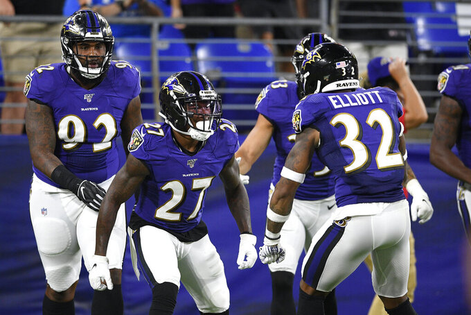 Baltimore Ravens cornerback Cyrus Jones (27) celebrates with teammates, including defensive back DeShon Elliott, his interception on a pass from Jacksonville Jaguars quarterback Tanner Lee during the second half of an NFL football preseason game, Thursday, Aug. 8, 2019, in Baltimore. (AP Photo/Nick Wass)