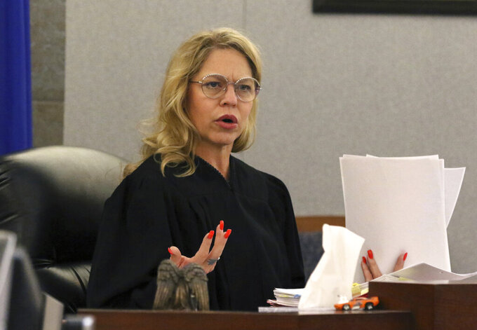 Judge Melanie Andress-Tobiasson presides during the conclusion of a preliminary hearing for former NFL player Cierre Wood at the Regional Justice Center on Wednesday, May 22, 2019, in Las Vegas. Wood, who along with his girlfriend, is charged with first-degree murder in the death of her 5-year-old daughter, La'Rayah Patra Nicole Lamont Davis. (Bizuayehu Tesfaye/Las Vegas Review-Journal via AP)