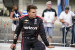 Will Power, of Australia, watches as Simona De Silvestro, of Switzerland, drives during qualifications for the Indianapolis 500 auto race at Indianapolis Motor Speedway, Saturday, May 22, 2021, in Indianapolis. (AP Photo/Darron Cummings)