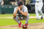 Cleveland Indians relief pitcher James Karinchak reacts after he hit Chicago White Sox's Jose Abreu with a pitch during the eighth inning of a baseball game in Chicago, Friday, July 30, 2021. (AP Photo/Nam Y. Huh)