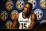 Vanderbilt's Clevon Brown speaks during the Southeastern Conference NCAA college basketball media day, Wednesday, Oct. 16, 2019, in Birmingham, Ala. (AP Photo/Butch Dill)