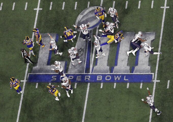 The New England Patriots celebrate a 41-yard field goal by Stephen Gostkowski (3) against the Los Angeles Rams during the second half of the NFL Super Bowl 53 football game Sunday, Feb. 3, 2019, in Atlanta. The Patriots defeated the Rams 13-3.(AP Photo/Morry Gash)
