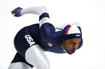 Shani Davis of the U.S. competes during the men's 1,500 meters speedskating race at the Gangneung Oval at the 2018 Winter Olympics in Gangneung, South Korea, Tuesday, Feb. 13, 2018. (AP Photo/Petr David Josek)