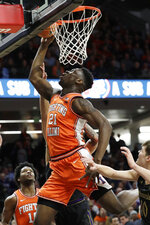Illinois center Kofi Cockburn (21) shoots against Northwestern during the first half of an NCAA college basketball game in Evanston, Ill., Thursday, Feb. 27, 2020. (AP Photo/Nam Y. Huh)