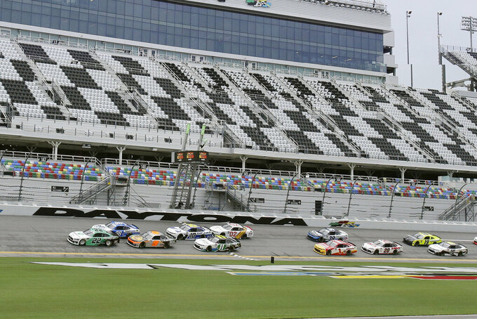 Austin Cindric (22) leads the field to start the NASCAR Xfinity series auto race at Daytona International Speedway, Saturday, Aug. 15, 2020, in Daytona Beach, Fla. (AP Photo/Terry Renna)