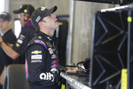 Monster Energy NASCAR Cup Series driver Jimmie Johnson looks at the speeds during practice for the NASCAR Brickyard 400 auto race at the Indianapolis Motor Speedway, Saturday, Sept. 7, 2019 in Indianapolis. (AP Photo/Darron Cummings)