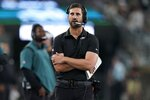 Philadelphia Eagles head coach Nick Sirianni walks the sidelines during the first half of an NFL preseason football game against the New York Jets Friday, Aug. 27, 2021, in East Rutherford, N.J. (AP Photo/John Minchillo)