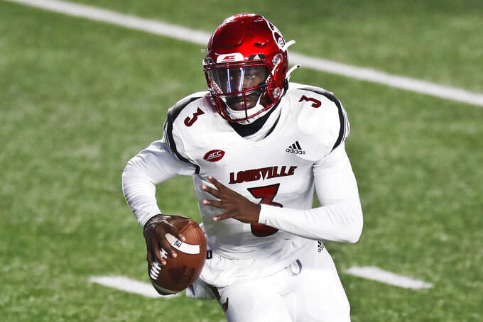 FILE - In this Nov. 28, 2020, file photo, Louisville quarterback Malik Cunningham rolls out against Boston College during the second half of an NCAA college football game in Boston. Louisville takes on Mississippi in Monday night's Chick-Fil-A Kickoff game that wraps up college football's first full weekend.  (AP Photo/Michael Dwyer, File)