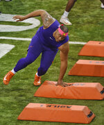 Clemson's Dexter Lawrence runs drills during NFL Pro Day Thursday, March 14, 2019, in Clemson, S.C. (AP Photo/Richard Shiro)