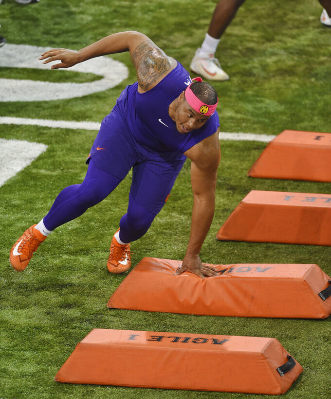 Clemson's Dexter Lawrence runs drills during NFL Pro Day Thursday, March 14, 2019, in Clemson, S.C. (AP Photo/Richard Shiro)