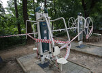 Fitness equipments are taped for the social distancing measures at a park in Seoul, South Korea, Friday, Sept. 11, 2020. (AP Photo/Lee Jin-man)