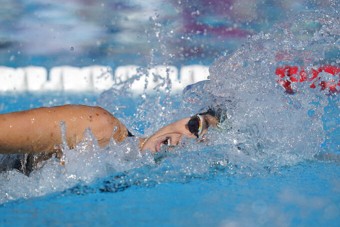 Leah Smith competes in the women's 200-meter final at the TYR Pro Swim Series swim meet Friday, April 9, 2021, in Mission Viejo, Calif. (AP Photo/Ashley Landis)