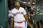 FILE - In this Friday, Sept. 27, 2019, file photo, Cleveland Indians' Yasiel Puig walks out of the dugout after a baseball game against the Washington Nationals, in Washington. For the first time since 2015, baseball's postseason will go on without the Indians. (AP Photo/Patrick Semansky, File)
