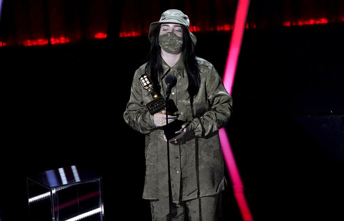 Billie Eilish accepts the award for top female artist at the Billboard Music Awards on Wednesday, Oct. 14, 2020, at the Dolby Theatre in Los Angeles. (AP Photo/Chris Pizzello)