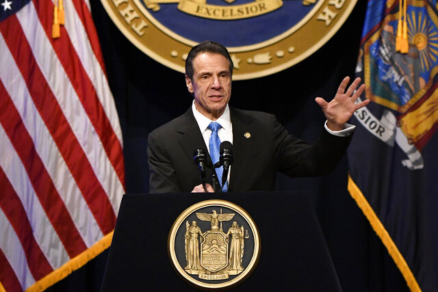 New York Gov. Andrew Cuomo delivers his State of the State address at the Empire State Plaza Convention Center on Wednesday, Jan. 8, 2020, in Albany, N.Y. (AP Photo/Hans Pennink)