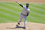 Colorado Rockies pitcher German Marquez works against the Oakland Athletics during the first inning of a baseball game, Wednesday, July 29, 2020, in Oakland, Calif. (AP Photo/Ben Margot)