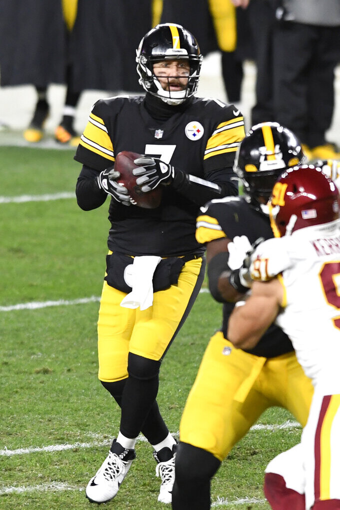 Pittsburgh Steelers quarterback Ben Roethlisberger (7) looks to pass during the first half of an NFL football game against the Washington Football Team in Pittsburgh, Monday, Dec. 7, 2020. (AP Photo/Barry Reeger)